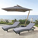 Patio Chaise Lounge PE Rattan Gray Wicker Leisure Chair Garden Sunbed Set of 2 Poolside Loungers Gray Cushion Swimming Pool Beach Chair Beck Stable Loungers Garden