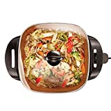 BELLA Electric Ceramic Titanium Skillet, Roast, Fry and Steam, Healthy-Eco Non-stick Coating, Convenient Easy Clean Up, Glass Lid Included, 12' x 12', Copper/Black