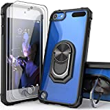 iPod Touch Case Clear with Kickstand, iPod Touch 7 Case with 2 HD Screen Protectors, IDYStar Clear Crystal Case with Built-in Metal Magnetic Kickstand for Apple iPod Touch 7th/6th/5th Gen (Black)