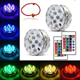 Underwater Submersible LED Lights for Halloween Decor Waterproof Battery Operated Remote Control Wireless LED Lights for Hot Tub,Pond,Pool,Fountain,Waterfall,Aquarium,Party,Vase Base,Christmas 2pack