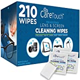 Care Touch Lens Cleaning Wipes - 210 Pre-Moistened and Individually Wrapped Lens Cleaning Wipes - Great for Eyeglasses, Tablets, Camera Lenses, Screens, Keyboards and Delicate Surfaces