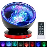 Ocean Wave Projector Night Light Lamp, 8 Color Changing Music Player Night Light Projector with Remote Control Timer Setting Light Show for Kids Adults Bedroom Living Room Decoration (Black Red)