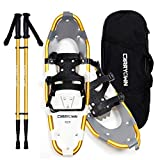 Carryown Xtreme Light Weight Snowshoes Set for Adults Men Women Youth Kids, Aluminum Alloy Terrain Snow Shoes with Trekking Poles and Carrying Tote Bag, 14' /21'/ 25'/ 30' (Gold,25')