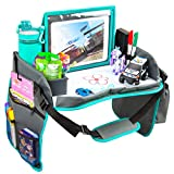 Kids Travel Tray with Dry Erase Board, Car Seat Tray for Food & Play Activity, Carseat Table Trays for Toddler, Kid Activity Desk for Air Travel, No-Drop Tablet Holder & Borders (Grey with Blue Frame )