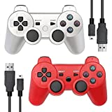 Autker PS3 Controller Wireless 2 Pack Game Controller Double Vibration for Playstation 3 with 2 Charging Cable (Silver+Red)