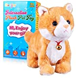 Yellow Robot Cat Plush Cat Stuffed Animal Interactive Cat Meow Kitten Touch Control, Electronic Cat Pet, Robotic Cat Cat Kitty Toy, Animated Toy Cats for Girls Baby Kids L:12'