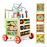 Gemileo Wooden Activity Cube Center Toys with Bead Maze Clocks Shape Sorter Abacus 6 in 1 Play Baby Push Walker Learning Educational Toys Birthday Gifts for Toddlers Kid12 Month 1st Girls Boys