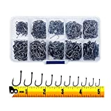 300PCS Small High-Carbon Steel Barbed Fishing Hooks with Holes, 10 Specifications of Fishing Hooks, Portable Boxed Hooks, Powerful Hooks That Can Adapt to Various Fishing Environments