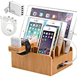 Bamboo Charging Station for Multiple Devices with 5 Port USB Charger, 5 Cables and Smart Watch & Earbuds Stand. Pezin & Hulin Desk Docking Stations Electronic Organizer for Cell Phone, Tablet
