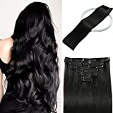 Colhair Clip in Hair Extensions Human Hair Straight Hair 100% Real Hair Extensions Clip in Human Hair for Women 7pcs 18Inch 70g #1 Jet Black