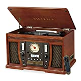 Victrola Aviator 8-in-1 Bluetooth Record Player & Multimedia Center with Built-in Stereo Speakers - 3-Speed Turntable, Vinyl to MP3 Recording, Wireless Music Streaming, Mahogany