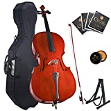 Cecilio Size 4/4 (Full Size) Student Cello with Hard & Soft Case, Stand, Bow, Rosin, Bridge and Extra Set of Strings, 4/4CCO-100