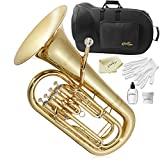 Ashthorpe Bb Euphonium with 4 Stainless Steel Pistons, Gold Lacquer - Includes Case, Mouthpiece, Gloves, Cleaning Cloth and Piston Oil
