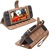 Ultra Slim Portable Protective Hard Leather Case for Nintendo Switch, Switch Console Joy-Con 10 Game Cartridges Card Holder Wallet with Wrist Strap (Brown)