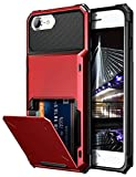 Vofolen for iPhone 6s Case iPhone 8 Wallet iPhone SE 2020 Case Credit Card Holder ID Slot Pocket Dual Layer Protective Bumper Rugged TPU Rubber Armor Hard Shell Cover for iPhone 6 6s 7 8 SE2 (Red)