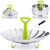 Zulay Adjustable Vegetable Steamer Baskets For Cooking - Foldable Steamer Basket (5.1' to 9') - Expandable Vegetable Steamer Basket Stainless Steel Fits Various Size Pots, Pans, & Pressure Cookers