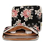 KAYOND Black Rose Patten canvas Water-resistant 11 Inch Laptop Sleeve