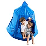 Hanging Tree Tent for Kids Adults, Hanging Tent Indoor Outdoor, Ceiling Hammock Swing Chair, Waterproof Portable Play Tent with Lights String, Max Capacity 220LBS (Blue)