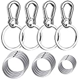 Keychain Clip with Key Ring, Cridoz 4pcs Key Chain Clip Hook with 16Pcs Key Rings for Car Keys, Dog Tag and Key Chain (Assorted Sizes)