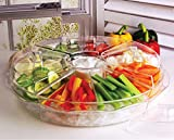 Circleware Acrylic 8 Section Cold Chip & Dip Salad Snack Dessert Bowl Set with Lids & Ice Serving Preserving Tray Dish, 16.5', Clear