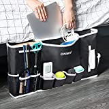 GINIMAX Dorm Room Essentials - Bedside Caddy   Large Size 23'x12'   Under Couch Mattress   Bedside Storage Organizer for TV Remote Control, Mobile Phones, Magazines, Laptops, Glasses