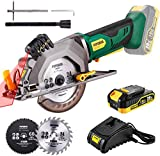 POPOMAN 20V Cordless Mini Circular Saw with Laser Guide, 4-1/2' 3400RPM Compact Circular Saw, 2.0Ah Battery, 1H Charger, Ideal for Wood, Plastic and Metal Cuts - MTW80B