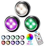 Puck Lights with Remote,GALLIA Wireless LED Under Cabinet Lighting and Dimmable Under Cabinet Lights,Battery Powered RGB Puck Lights has 4 Dynamic Modes and Timer Off Function (Small-Balck, 3 Packs)