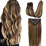 GOO GOO Clip in Human Hair Extensions Remy Chocolate Brown to Caramel Blonde Balayage Hair Extensions Clip in Straight Real Hair Extensions Natural Hair 7pcs 120g 18 inch