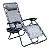 Zero Gravity Chair, Lawn Chair Recliner Lounge Chair with Removable Pillow and Side Table, Gray