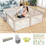 Mloong Baby Playpen with Mat, 71x79 Inches Extra Large Playpen for Babies and Toddlers, Indoor & Outdoor Activity Center, Safety Baby Fence with Gate