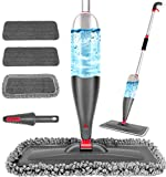 Spray Mop for Floor Cleaning with 3pcs Washable Pads - Wet Dry Microfiber Mop with 800 ml Refillable Bottle for Kitchen Wood Floor Hardwood Laminate Ceramic Tiles Floor Dust Cleaning (Gray, 800 ML)