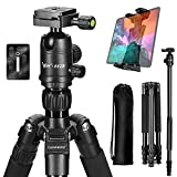 Tripod, Lusweimi 66'' DSLR Camera Tripods with 360° Ball Head Quick Release Plate for Canon/Nikon/Sony Mirrorless Camera, Aluminum Travel Monopods with Carry Bag for iPad 12.9''/iPhone