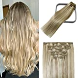 WindTouch Clip in Hair Extensions Human Hair Balayage Mixed Bleach Blonde 15Inch 70g Highlights for Blonde Remy Hair 7PCS #18P613 Gift for Women