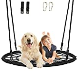 AMGYM 48' Tree Swing Set - Spider Web Round Net Swing for Kids with 2 Hanging Straps and Carabiners, 71' Adjustable Hanging Ropes, Max 660 LBS, Great for Park Backyard Outdoor