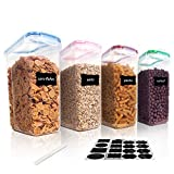 Vtopmart Cereal Storage Container Set, BPA Free Plastic Airtight Food Storage Containers 135.2 fl oz for Cereal, Snacks and Sugar, 4 Piece Set Cereal Dispensers with 24 Chalkboard Labels