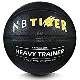 NBTiger 3lbs Size 7/29.5' Weighted Basketball with Pump Black Trainer Basketball for Improving Ball Handling Dribbling Passing and Rebounding Skill Heavy Basketball
