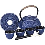 Ufine Blue Floral Cast Iron Teapot Set Japanese Style Tetsubin Tea Kettle with 4 Cups, Stainless Steel Infuser for Stove Top Tea Brewing 28 oz