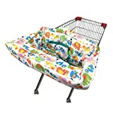 Portable Shopping Cart Cover   High Chair and Grocery Cart Covers for Babies, Kids, Infants & Toddlers ✮ Includes Free Carry Bag ✮ (Simple Elephant)