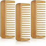 3 Pieces Wide Tooth Hair Comb Detangling Anti Static Wooden Comb Curly Hair Natural Hair Detangler Wooden Comb for Women Girls Supplies