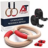 ACTIVTRAQ Wooden Gymnastics Rings with Adjustable Buckle 15ft Long Straps and Absorption Tape, Non-Slip Training Rings for Home Gym Full Body Workout