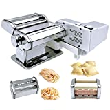 Shule Pasta Maker Machine Includes Motor Hand Crank and Multifunctional Rollers for Pasta Ravioli