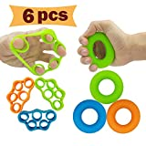 Hand Grip Strengthener, Finger Exerciser, Grip Strength Trainer (6 PCS) NEW MATERIAL Forearm grip workout, Finger Stretcher, Relieve Wrist & Thumb Pain, Carpal tunnel, Great for Rock Climbing and More