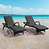 Ulax Furniture Outdoor Woven Padded 2-Pack Non-Rust Aluminum Chaise Lounge Armed Patio Lounger Adjustable Chair with Wheels and Padded Quick Dry Foam (Dark Brown)