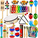 LOOIKOOS Toddler Musical Instruments,Wooden Percussion Instruments Toy for Kids Baby Preschool Educational Musical Toys Set for Boys and Girls with Storage Bag