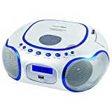HANNLOMAX HX-309CD Portable CD/MP3 Boombox, AM/FM Radio, Bluetooth, USB Port for MP3 Playback, Aux-in, LCD Display , AC/DC Operated (White)