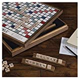Monopoly Scrabble Deluxe Vintage Wood Game Set with Lazy Susan