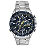 Citizen Eco-Drive World Chronograph A-T Mens Watch, Stainless Steel, Technology, Two-Tone (Model: AT8020-54L)