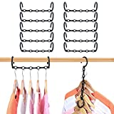 HWAJAN Closet Organizers and Storage Magic Hangers 10PC,Sturdy Plastic Space Saving Clothes Hangers Multifunctional Hangers for Dorms,Bedroom,Apartments,Suit for Pants,Jackets,Sweaters,Shirts,Black