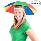 Umbrella Hat Pack of 4 - Colorful Party Hats - 20 Inch, Hands Free, Funny Rainbow Colorful Beach Party Hats, Adjustable Size Fits All Ages, Kids, Men & Women
