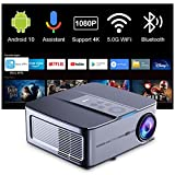 Smart Projector 4k Supported, Artlii Play3 Native 1080P 5G WiFi Bluetooth Projector, Android TV 10, Google Voice Assistant, Outdoor Movie Projector Compatible with iOS, Android, TV Stick, Laptop
